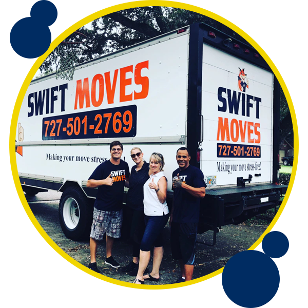 Image of Swift Moves crew and customers standing next to moving truck